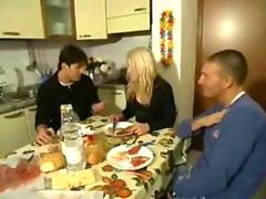 Blonde milf threesome by two guys after breakfast video 2