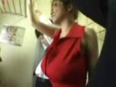 Big tits being Fondled on a Public Train
