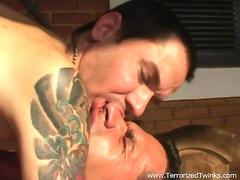 Two gay guys have passionate sweaty missionary position sex