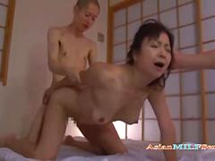 Mature Asian Woman Fucked and facialized By 2 Guys
