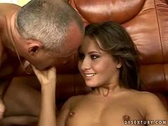 Sexy girl fucking with an old guy