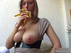 Busty blonde whore gets horny showing film