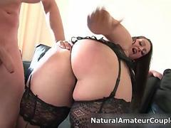 Chunky babe with sexy lingerie blows a hunky dude