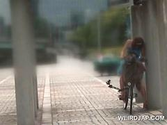 Asian doll riding the bike squirting all her pussy juices