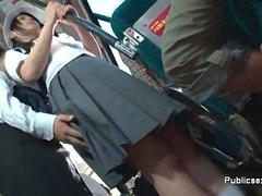 Asian babe groped on a bus