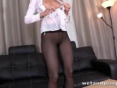 Pantyhose peeing for piss drinking russian girl