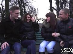 Russian teens gets together and exchange partners for a while