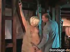 Little blonde captured by a nasty dude and punished in dungeon
