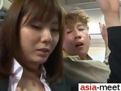 Asian chick gets groped on a bus