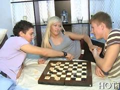 Hot blonde girlfriend fucked after a game of checkers