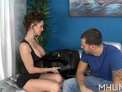 Classy MILF with fake tits rides a young bull