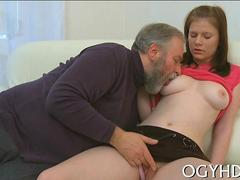 Teen with wonderful tits licked and fucked by a fat senior