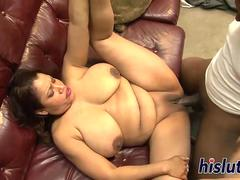 Chubby bitch rides on a hard cock