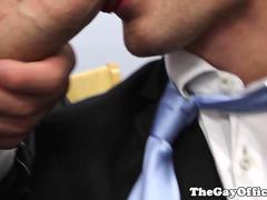 Office hunks assfucking in trio