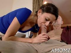 Slim brunette hottie rides old mans cock in ripped up pantyhose
