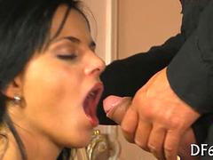that huge cock reaches the back of her innocent throat