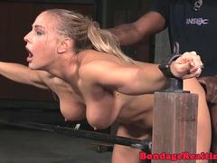 Submissive skank choked and spitroasted