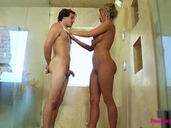 Hot Blonde MILF Showers with Neighbor