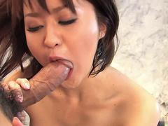 Cute girl likes her hands restrained as her pussy is pleasured by pink dildo
