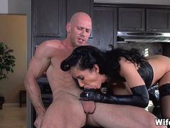 Sexy Leather Wife Cheats with new guy