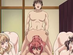 Anime slut gets gangbanged in this group session