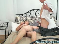 Nasty fat granny is feeling ready to blow that stiff member and then to get it between her legs by her lover