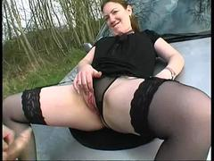 Emilie gangbanged in a forest