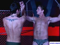 Straight jock chained up for cocksucking