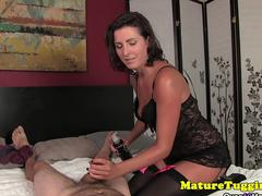 Handjob MILF milking cock in stockings