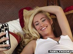FamilyHookups- Horny Blonde Sister Begs Stepbro For Hard Cock