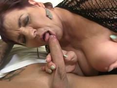 Hairy old slut loves young cock