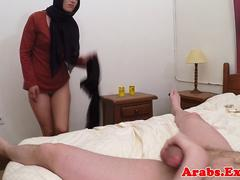 Gorgeous muslim babe riding cock for cash