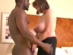 Busty mature lady takes a huge black cock