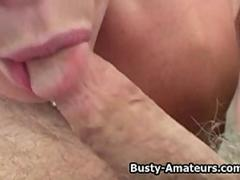 busty Blonde Sunny and Holly on double blowjob