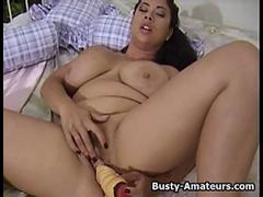 Busty amateur Zoey masturbates her hairy pussy with huge dildo