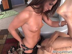Gorgeous femdom drills tight ass with strapon