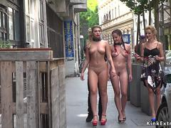 Naked slaves walked in city center