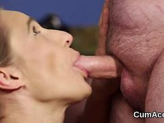 frisky looker gets cumshot on her face swallowing all the jizz video