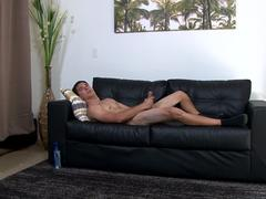 Tattooed army hunk wanks while standing up