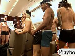 First class passengers having fun with sexy stewardess