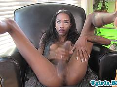 Black shemale babe stroking her big cock