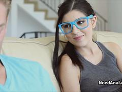 Teen in blue glasses bends over for anal