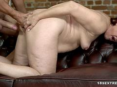 Red Mary rides cock