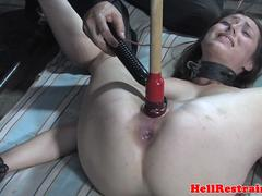 Humiliated slave hardfucked and restrained