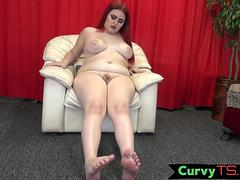 BBW tgirl plays with her tits and cock