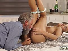 Old men fuck her and daddy makes ally playfellows daughter cum Surprise your gf and she