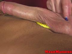 Mean masseuse edges and jerks guy on table