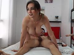 Bouncing boobs on a busty MILF while she rides big hard cock live at sexycamx