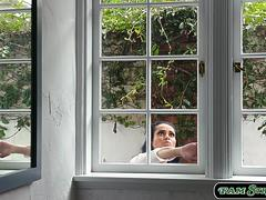Stepmom trapped in the window and fucked by her 2 stepsons