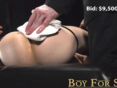 BoyForSale - Obedient twink for sale cum in mouth in anal play auction